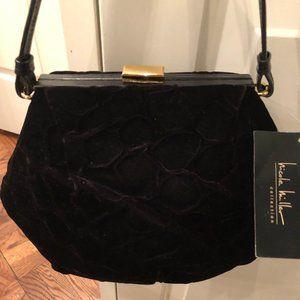 Nicole Miller Collection Black Velvet Handbag